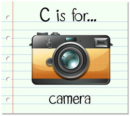 Flashcard letter C is for camera