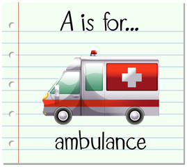 Flashcard letter A is for ambulance
