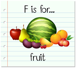Flashcard letter F is for fruit