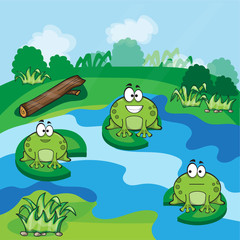Little frogs in the pond