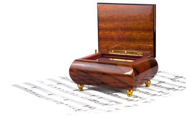 Music box with musical notes isolated on white background