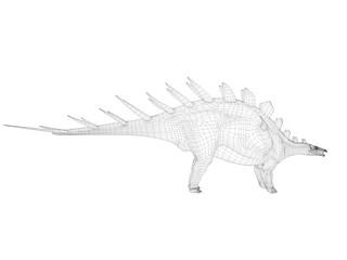 3d wireframe dinosaur