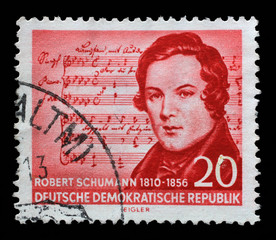 Stamp printed in GDR shows Robert Schumann (1810-1856), (Music by Schubert), composer, centenary of the death, circa 1956