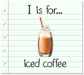 Flashcard alphabet I is for iced coffee