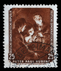 Stamp printed in DDR shows the painting Old woman with a brazier, by Peter Paul Rubens, from the series Famous Paintings from Dresden Gallery, circa 1957.