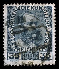 Stamp printed in the Austria shows Franz Josef in middle Age, Emperor of Austria, circa 1908
