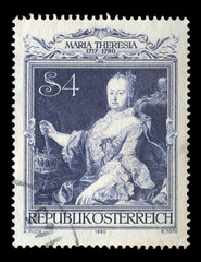 Stamp printed by Austria, shows Empress Maria Theresia portrait by Martin van Meytens, circa 1980