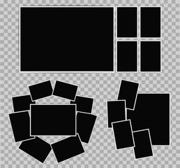 Photo album set of photo frames with white border on transparent