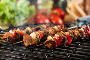 Foto auf Acrylglas Grill / Barbecue Grilling shashlik on barbecue grill