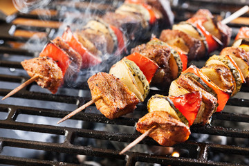 Photo Stands Grill / Barbecue Grilling shashlik on barbecue grill