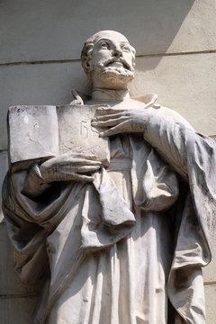 Saint Ignatius of Loyola on the portal of Saint James church in Ljubljana, Slovenia