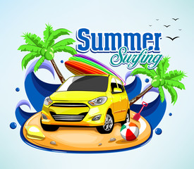 Summer Surfing Adventure Poster Design with Car and Surfboard on Top with Waves Background in Vector Illustration