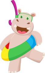 happy cartoon hippo with buoys