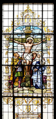 Crucifixion, Jesus died on the cross, stained glass window in the Basilica of the Sacred Heart of Jesus in Zagreb, Croatia