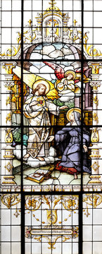 Jesus and Saint Margaret Mary Alacoque, stained glass window in the Basilica of the Sacred Heart of Jesus in Zagreb, Croatia