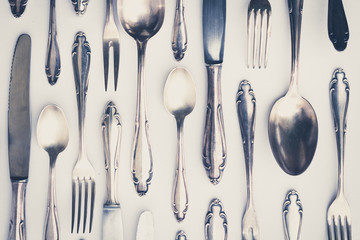beautiful old silver cutlery - vintage style filter