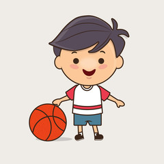 Teenager in sport clothes holding basketball, cute vector illustration/chiby characters