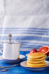 Pancakes with orange jam.selective focus.