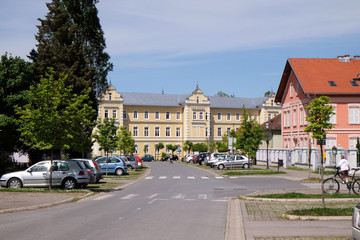 Kursalon in Lipik health resort is now used as a hospital. Lipik, Croatia