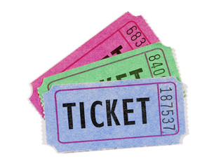 Several movie or raffle tickets, close up, white background