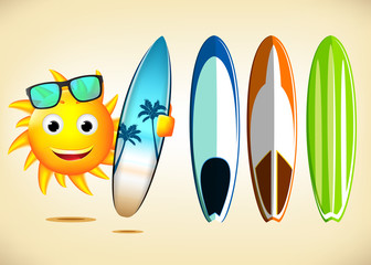 Smiling Sun Character Holding Sets of Surfboards with Different Designs as Summer Elements in Vector Illustration