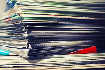 Large stack of magazines