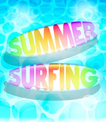 Colorful Summer Surfing Design with Floating Surfboards  in Water Background. Vector Illustration
