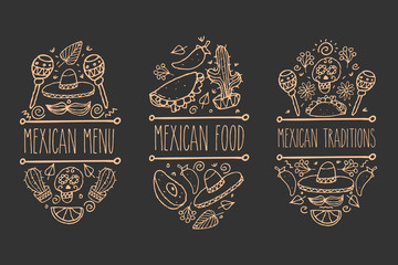 Mexican sketch doodle collection, vector hand drawn label elements. Skull, sugarskull, sombrero, avocado, chili, cactus, lime, lemon,tacos, burrito, moustaches. Native traditional food and attributes.