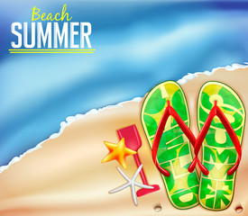 Beach Summer Background for Adventures with Space for Text and Flip Flops Vector Illustration