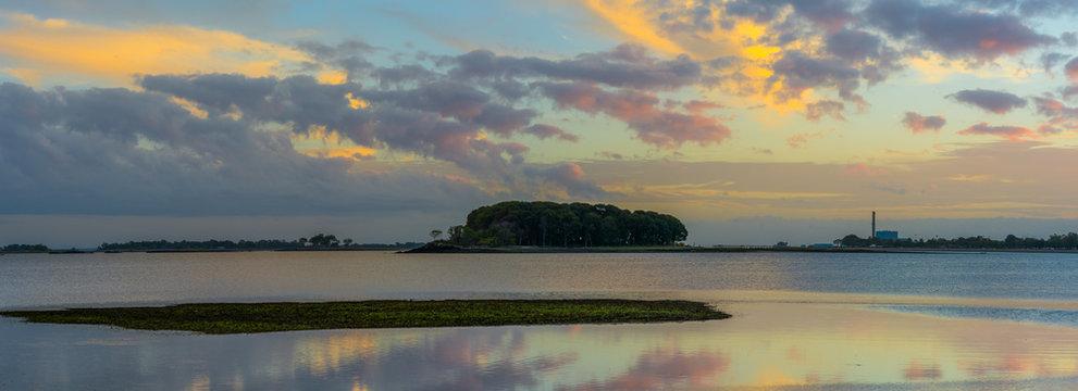 Westport Connecticut sunset at low tide