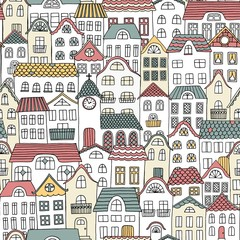 Hand drawn seamless pattern of a city with cute houses and a little church