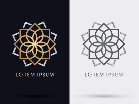Gold abstract lotus logo, graphic vector