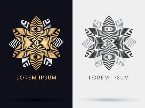 Gold abstract lotus logo, graphic vector.