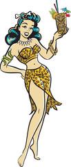 Tiki Pinup Goddess drinking a cocktail