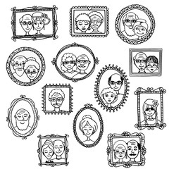 Cute hand drawn picture frames with portraits of old people