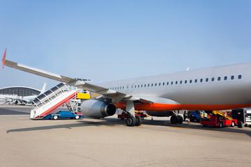 Passenger aircraft in the international airport of Hong Kong