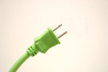 緑色の電気コード.