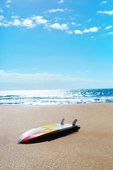 Summer Water Sports. Surfing. Beach Vacation. Surf Board, Surfboard Lying On Sand. Healthy Active Lifestyle. Leisure Sport. Hobby. Sport Equipment.