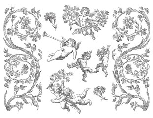 Cartouches set art illustration