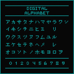 Digital alphabet. Font of the blue dots - katakana letters. Vector illustration 10 EPS