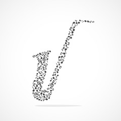 Music notes forming a saxophone