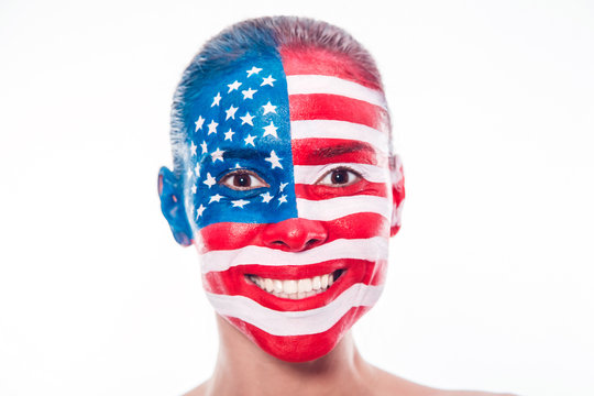 Portrait of a girl with a painted American flag, closeup