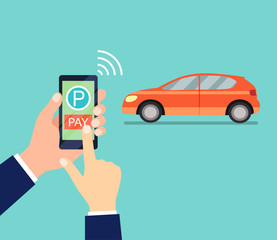 Smartphone with processing of mobile payments in the hands of men. Pay Parking. Near field communication technology concept. Flat design style vector illustration.