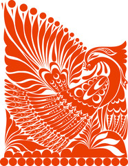 vector russian ornament.   folklore ornament withe bird