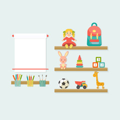 Baby toys icons on shelf. Place of child creativity Flat style vector illustration.