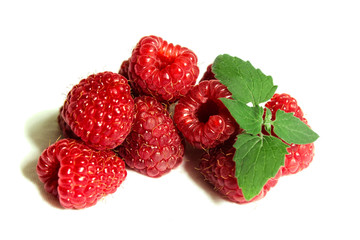 Raspberry and Mint on the white background