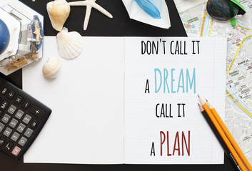 Holiday travel planning essentials. Inspiration quote.