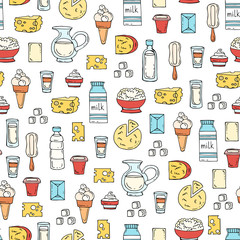 Vector seamless pattern with hand drawn colored dairy products, milk