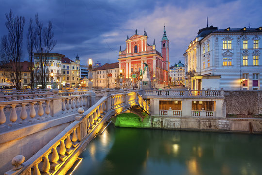 Ljubljana. Image of Ljubljana, Slovenia during twilight blue hour.