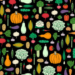 Vector seamless pattern with hand drawn colored vegetables on black color